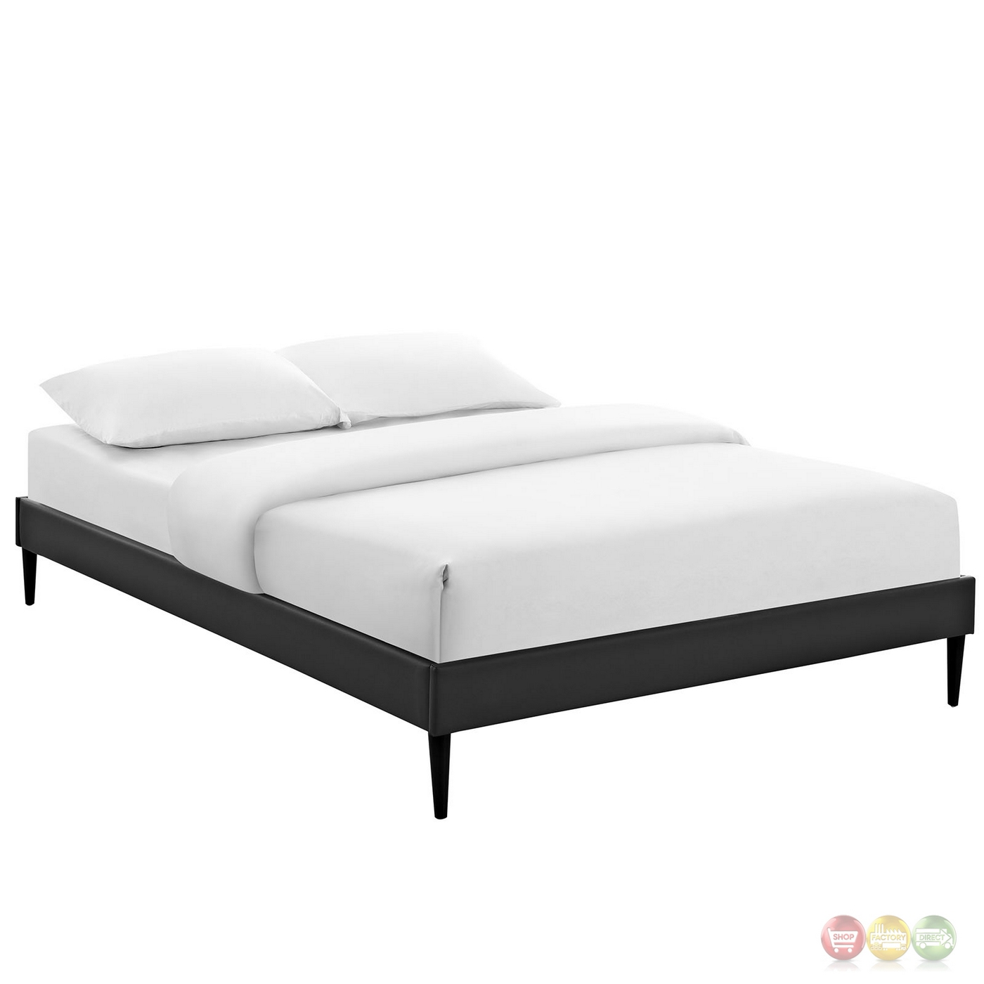 Sherry upholstered vinyl leather queen platform bed frame for Upholstered queen bed frame