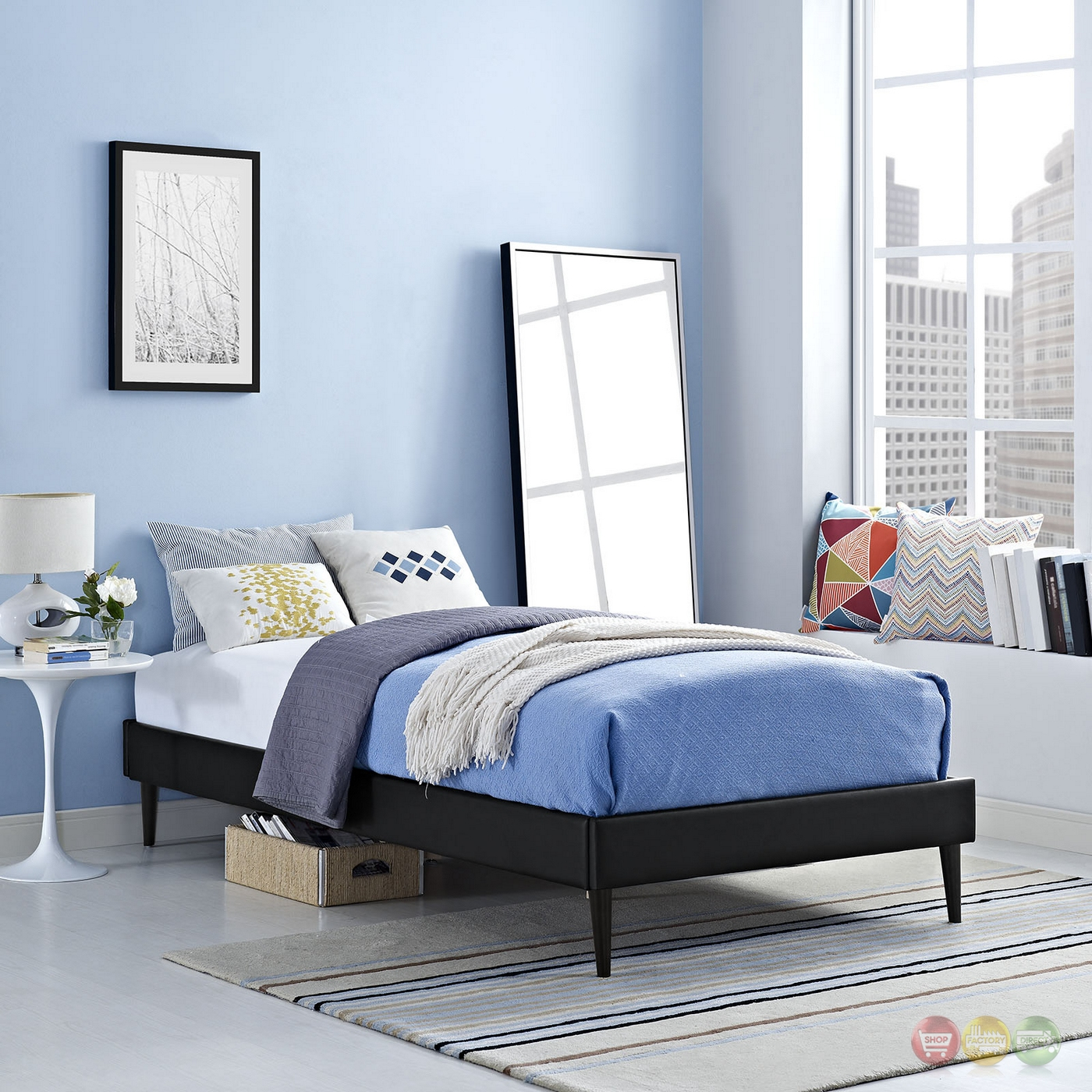 Sherry upholstered vinyl leather twin platform bed frame Black twin bed