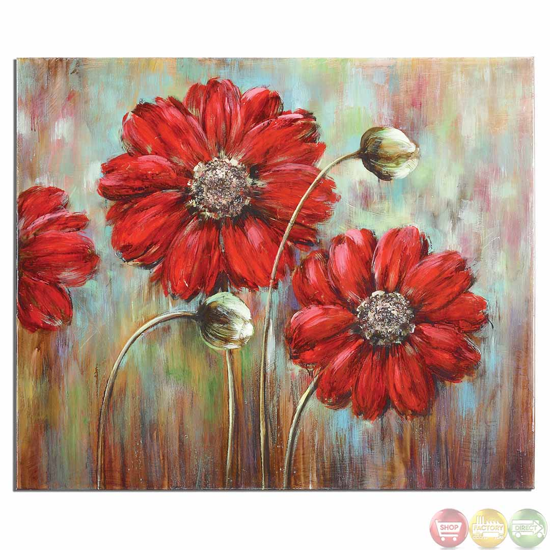 Shining stars floral canvas wall art 34259 for Flower paintings on canvas