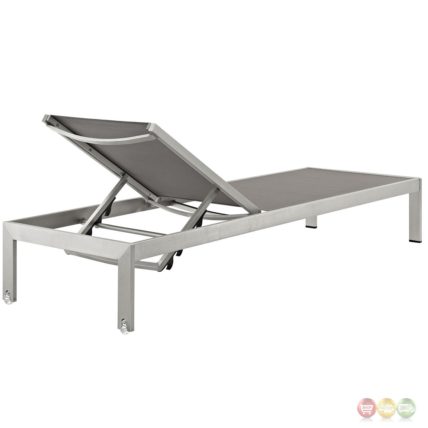 Shore outdoor patio aluminum chaise with breathable mesh - Chaise aluminium exterieur ...