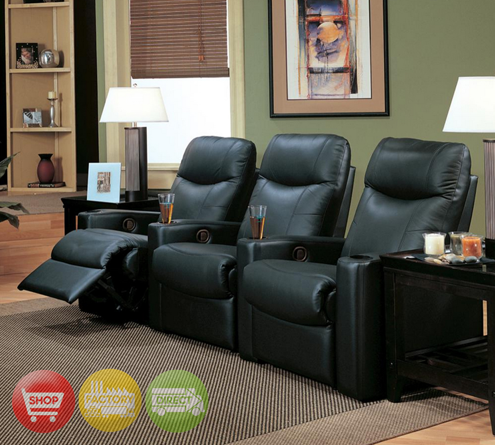 showtime home theater seating black leather row of 3 chairs