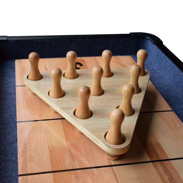 Shuffleboard Solid Wood Bowling Pin Set With Carrying Case
