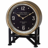 """Shyam Traditional Brass Finished Metal with Aged Black Table Clock 12""""x16"""" 06094"""
