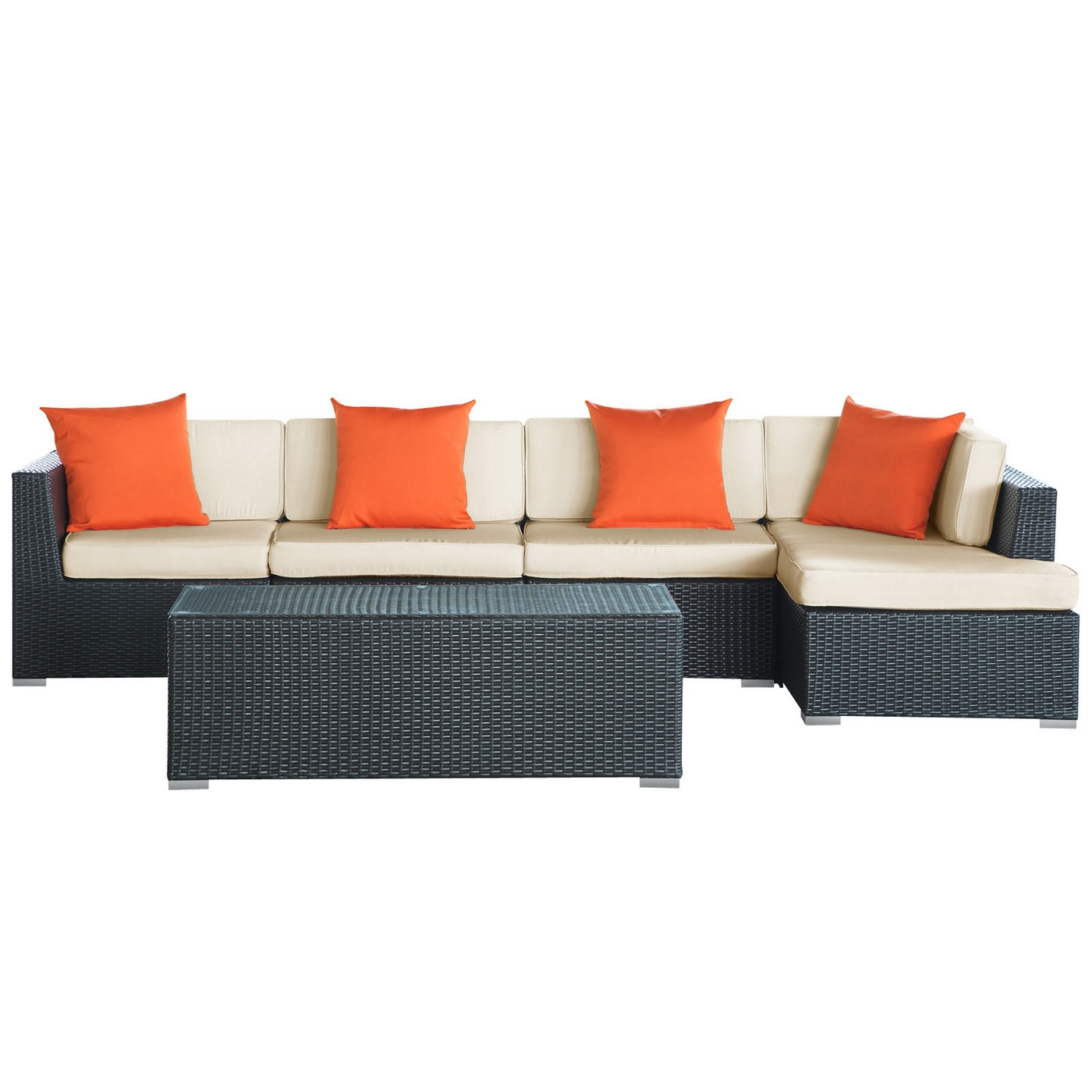5 piece signal modern patio sectional sofa set with uv for 5 piece fabric sectional sofa
