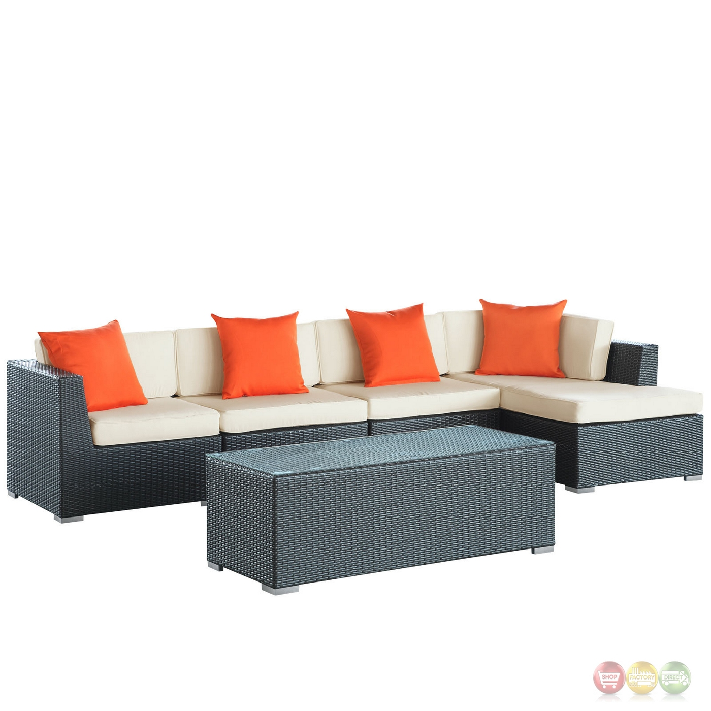 5 Piece Signal Modern Patio Sectional Sofa Set With Uv