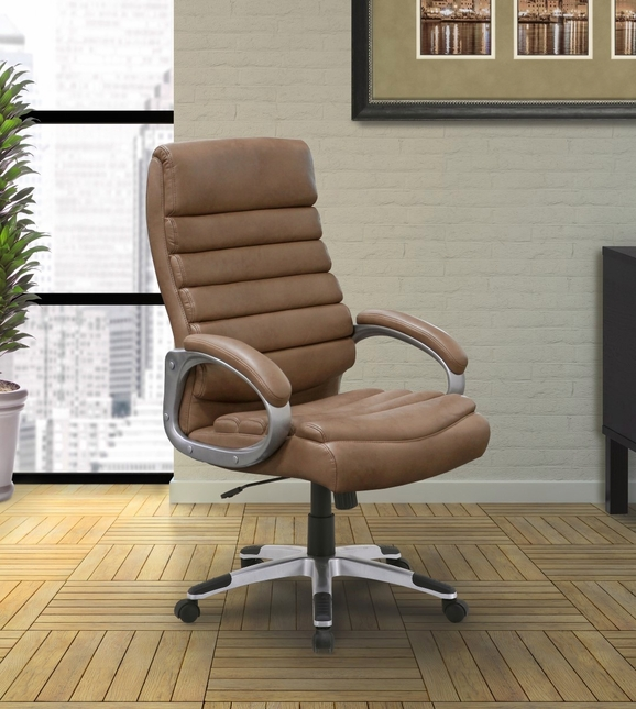 Signature Contemporary Modern Ribbed Back Office Desk Chair in Balsam Beige