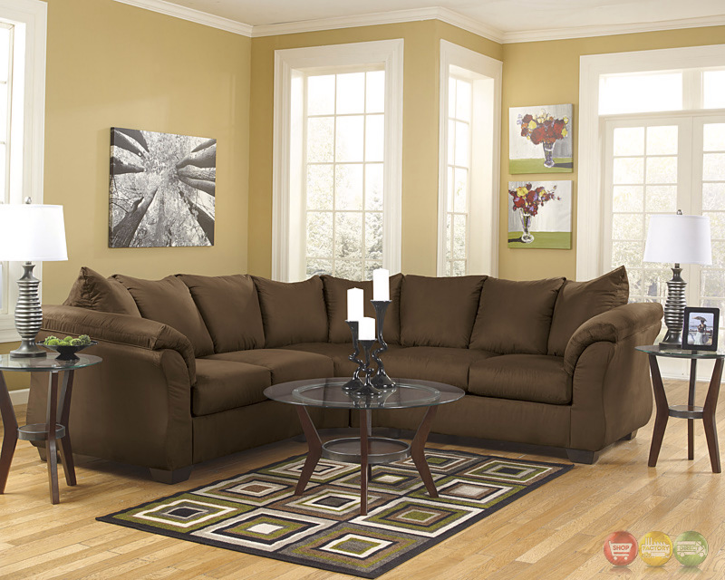Signature Design By Ashley Darcy Sectional In Cafe Fabric