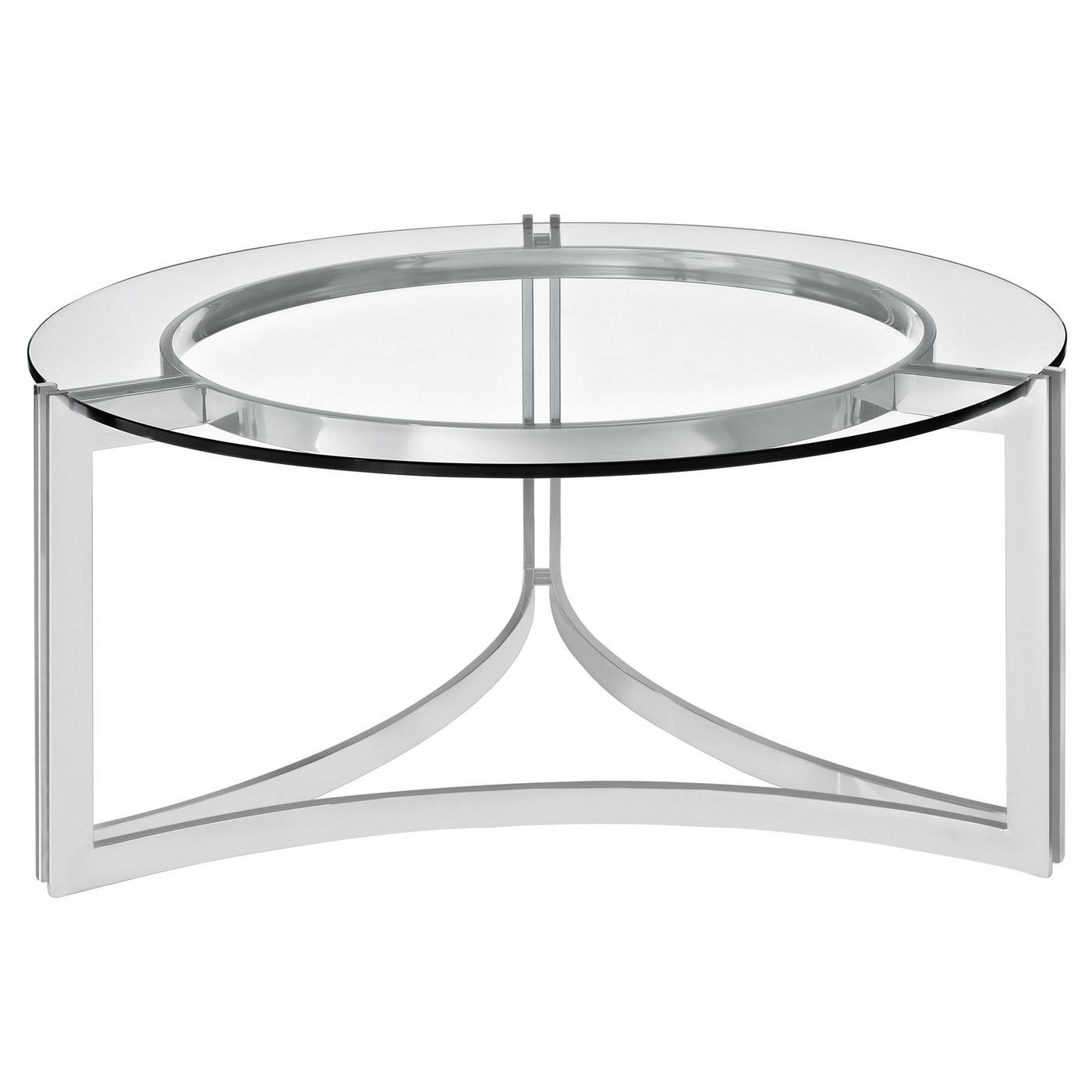 Modern Designer Large Round Coffee Table Glass Top Stainless Steel: Signet Modern Stainless Steel Coffee Table W/ Round