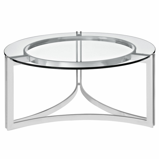 Signet Modern Stainless Steel Coffee Table W/ Round