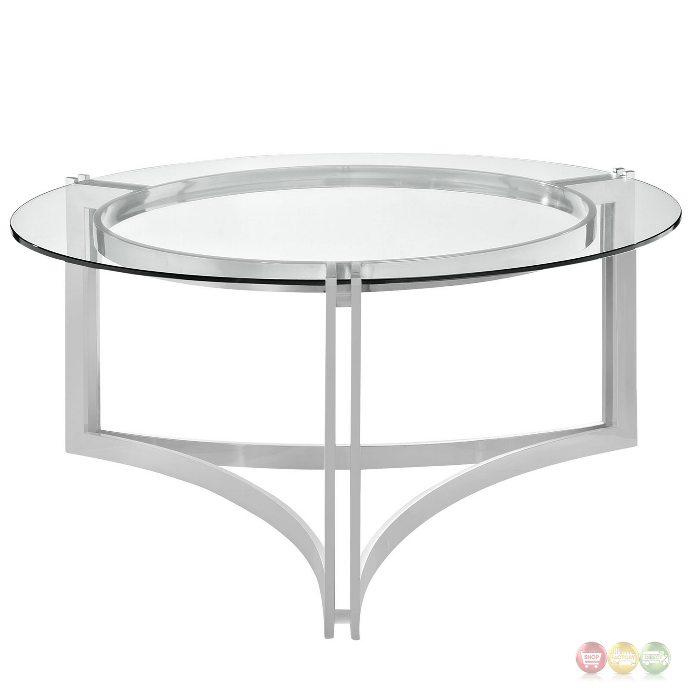 Signet modern stainless steel coffee table w round for Tempered glass coffee table