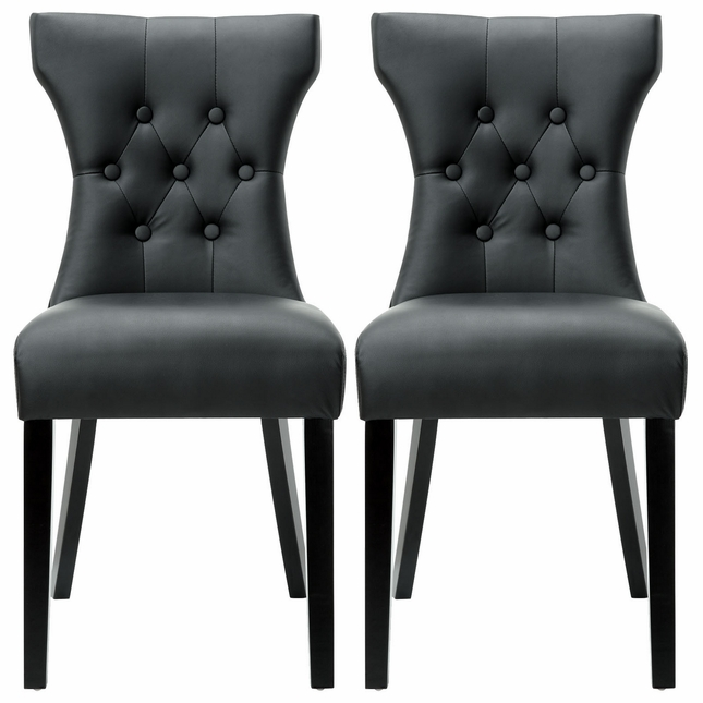 Set Of 2, Silhouette Modern Hourglass Inspired Vinyl Tufted Side Chairs,  Black
