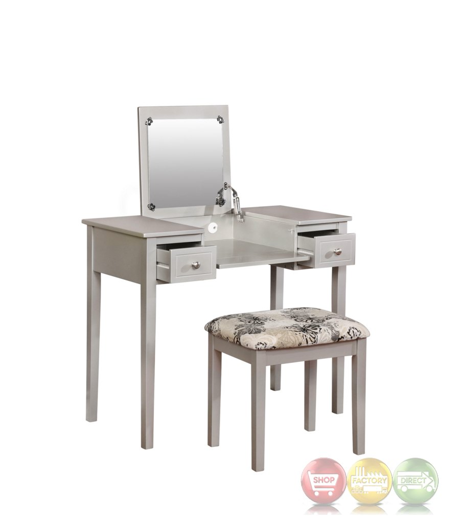 Silver butterfly bedroom vanity set with flip top mirror for Silver vanity table