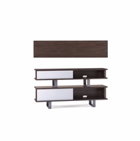 Silver Lake 2 Piece Stackable Walnut Console Table With Sliding Panels