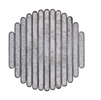 """Silver Lake Abstract Slat Mirror in Distressed Pot Metal, 41""""x46"""""""