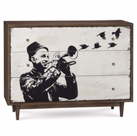 Silver Lake Distressed 3-Drawer Dresser with Musician Art