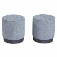 Silver Lake Distressed Teal Upholstered Stool with Metal Base
