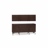 Silver Lake Flip-Up Top 3-Drawer Credenza with Walnut Finish