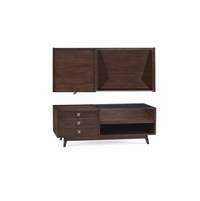Silver Lake Glass Top 3-Drawer Coffee Table In Walnut Finish