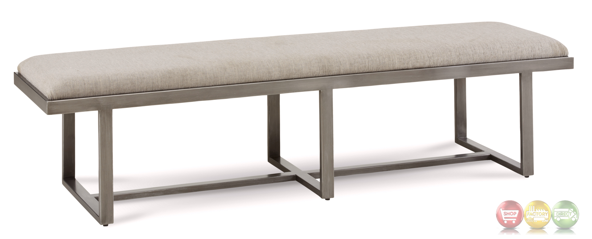 Silver Lake Grey Metal Upholstered Narrow Bench Lightly Distressed