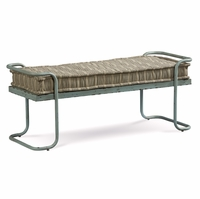 Silver Lake Padded Metal Bench with Blue Distressed Finish