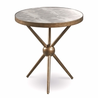 Silver Lake Sunset Brass Round End Table with Distressed Finish