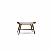 Silver Lake Upholstered Beige Bunching Bench with Walnut Finish
