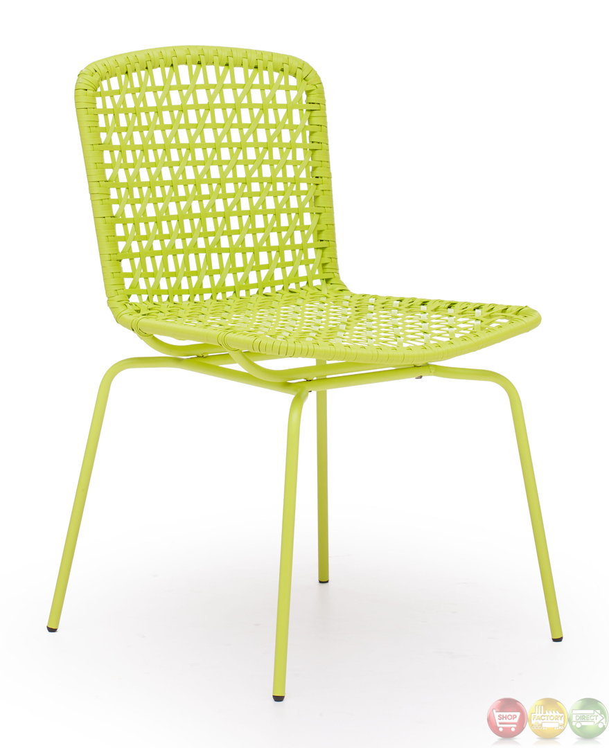 Silvermine bay lime dining chair zuo modern 703057 modern for Modern outdoor dining chairs