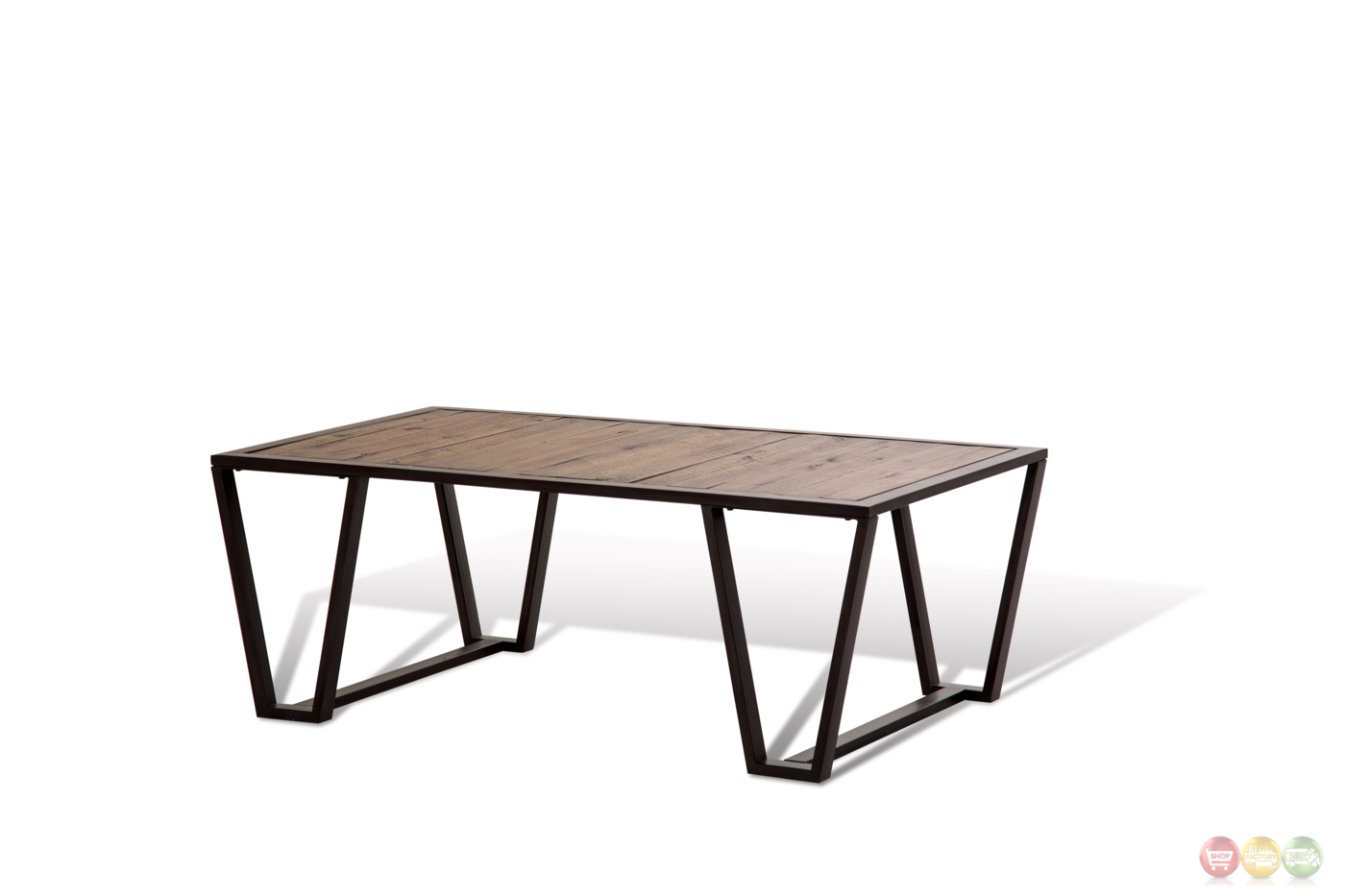 Silverton Rustic Coffee Table W Rough Sawn Wooden Top And Metal Base