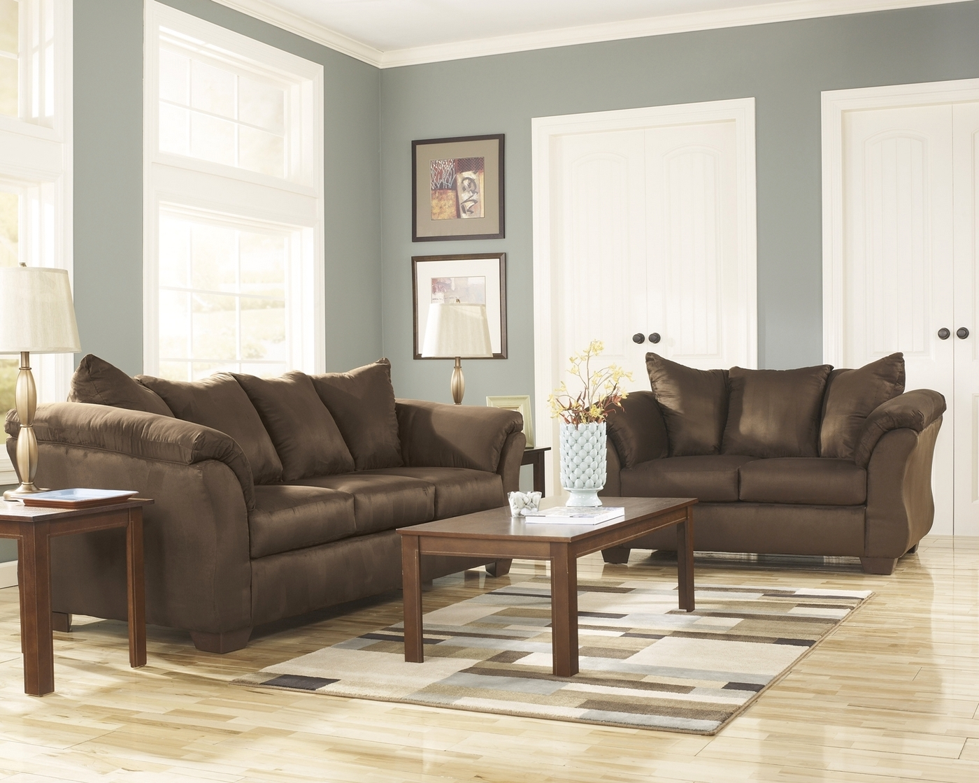 Details about luna casual chocolate cafe sleeper sofa loveseat microfiber 2pc livingroom set