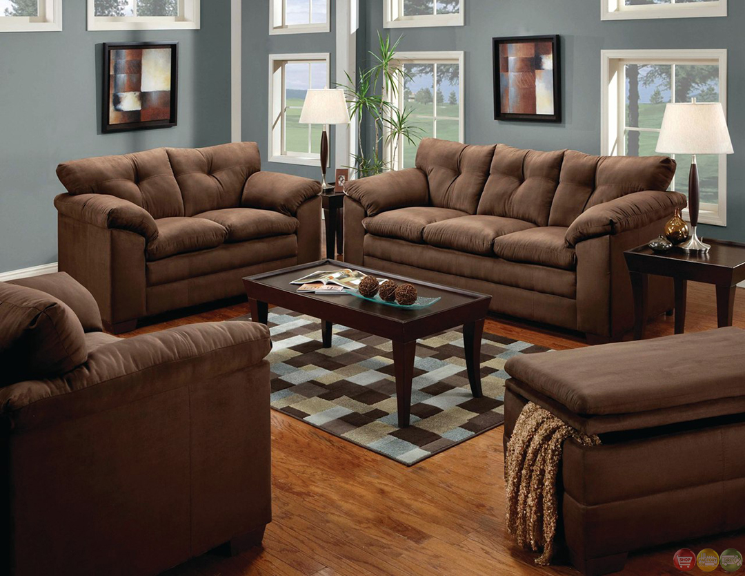 Simmons luna brown microfiber sofa and loveseat set - Microfiber living room furniture sets ...