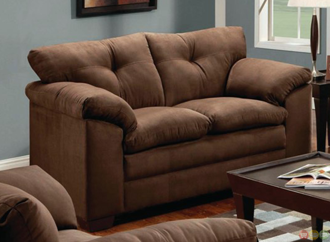 Simmons luna brown microfiber sofa and loveseat set Brown microfiber couch and loveseat