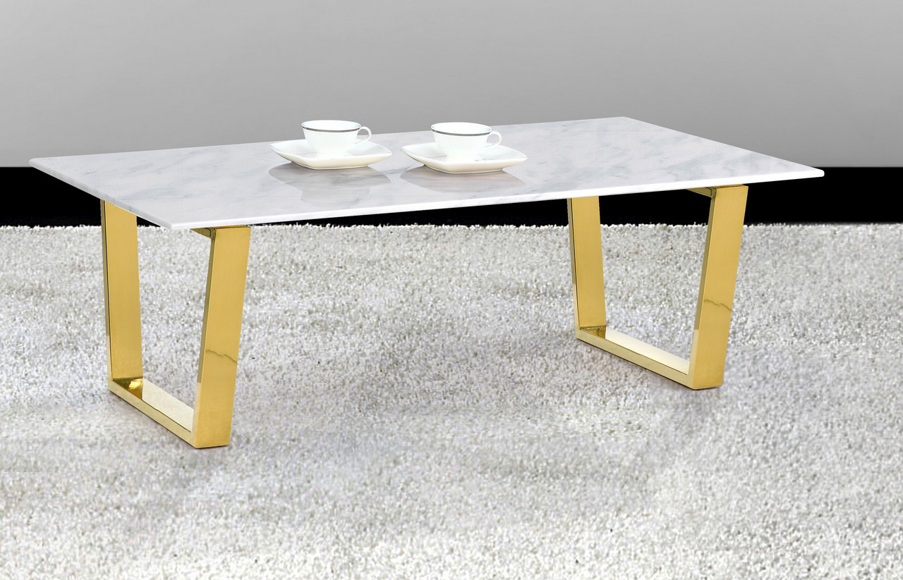 Simone Contemporary Genuine Marble Top Coffee Table W Gold