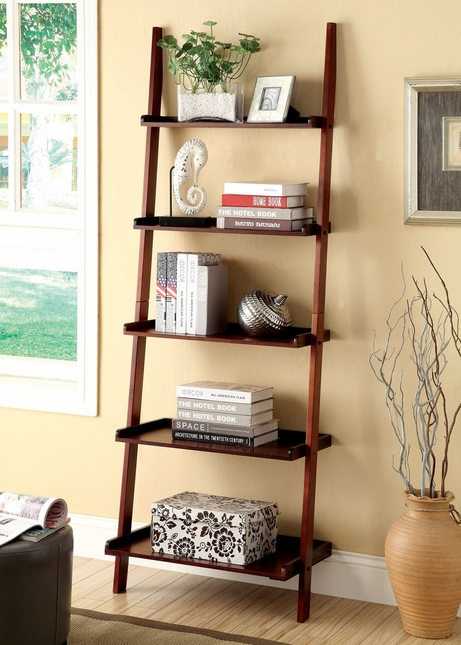 Sion Contemporary Cherry Ladder Shelf Bookcase