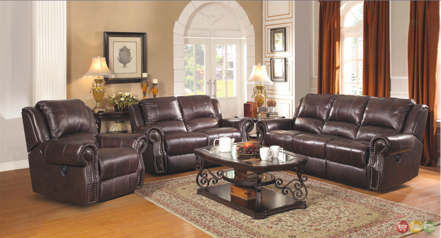 Sir rawlinson leather motion living room furniture reclining sofa love seat set ebay Living rooms with leather sofas