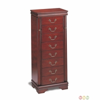 Six Felt Lined Drawer Cherry Molded Top Jewelry Armoire