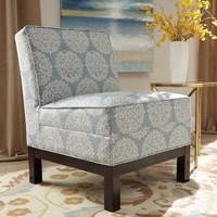 Sky Blue Button Tufted Armless Accent Chair with Cappuccino Legs