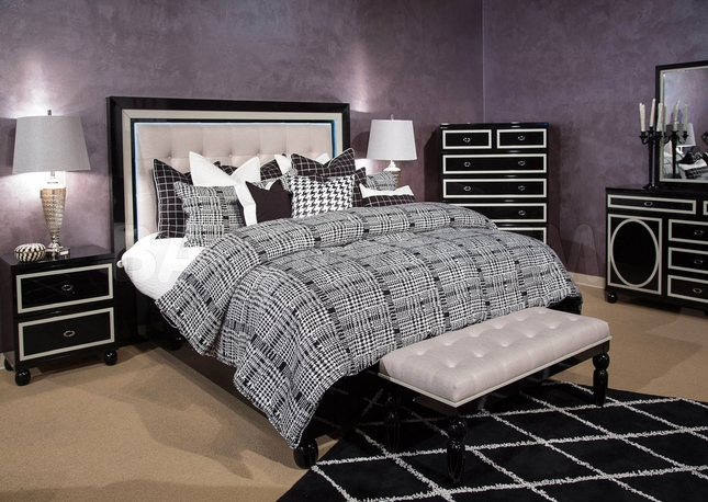 Sky Tower 4 Pc Contemporary Modern Luxury Black Ice Queen Bed Set W
