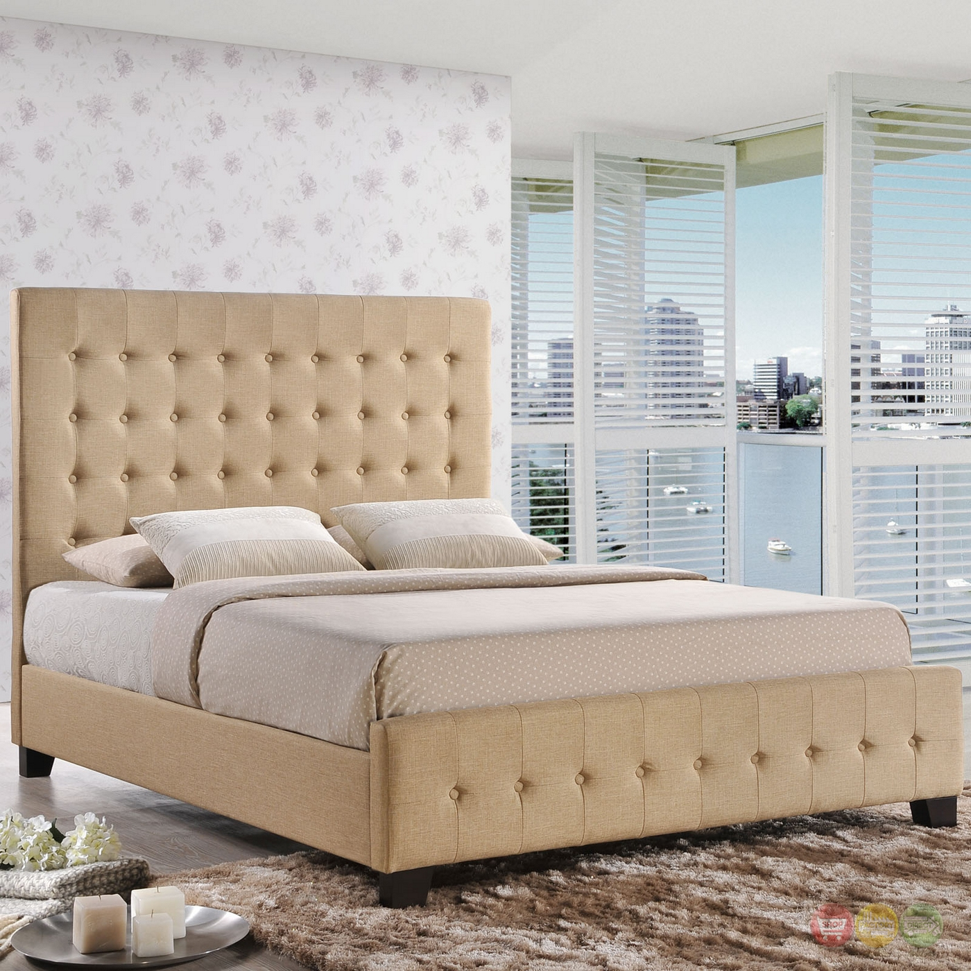 Skye Modern Upholstered Queen Platform Bed With Tall