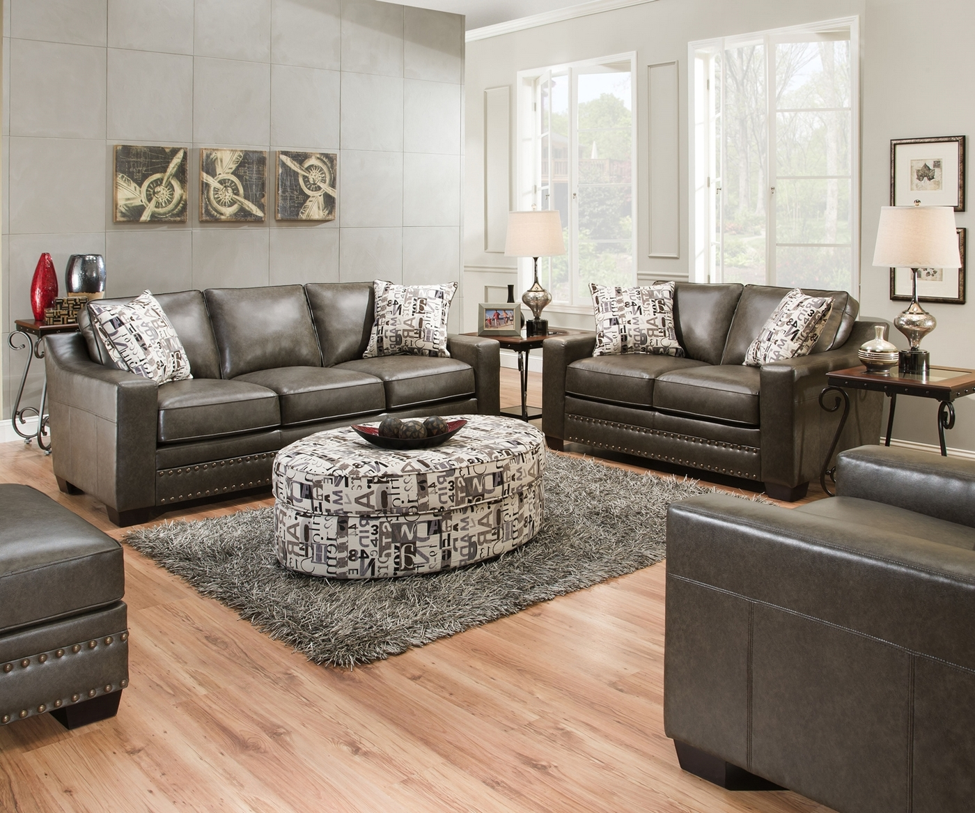 Gray And White Transitional Rustic Living Room With: Slate Gray Sofa & Love Seat W/ Nailhead Trim Transitional