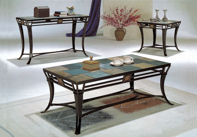 Attrayant Slate Top 3 Piece Metal Coffee Table And End Table Set
