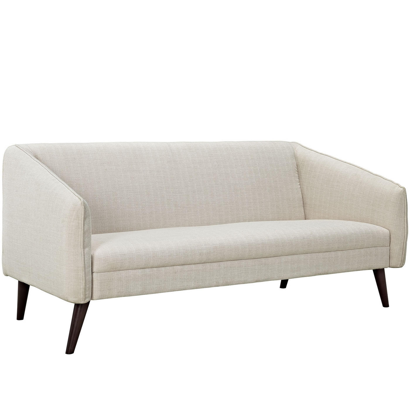 Mid century modern slide upholstered sofa with wood frame for Mid century modern upholstered chair