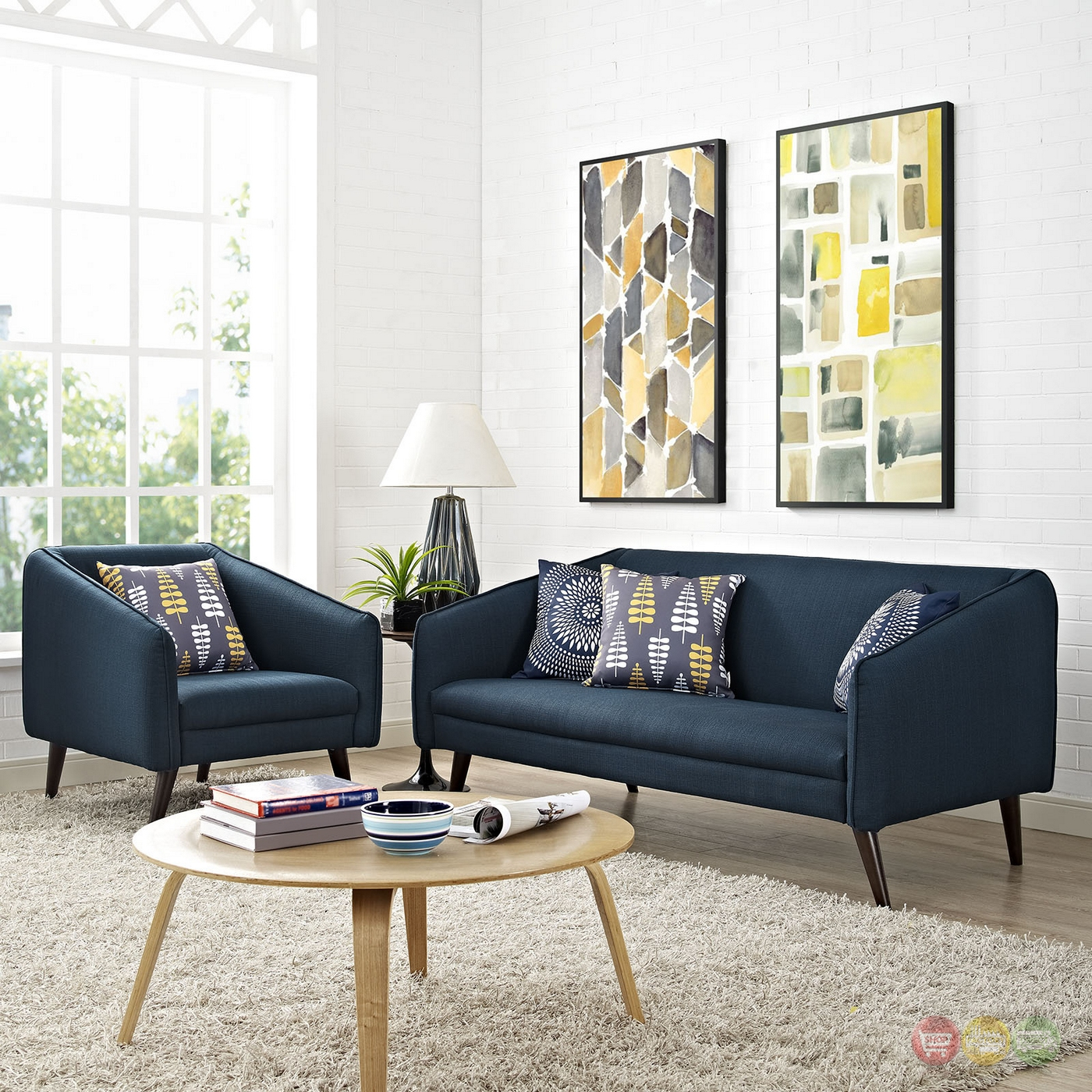 Slide Modern 2 Pc Upholstered Sofa Armchair Living Room Set Azure