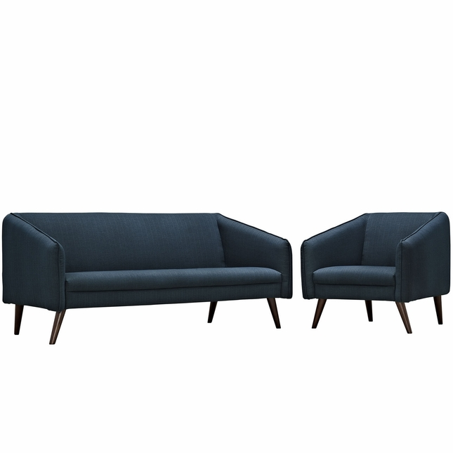 Mid-Century Modern Slide 2-pc Sofa & Armchair Living Room Set, Azure