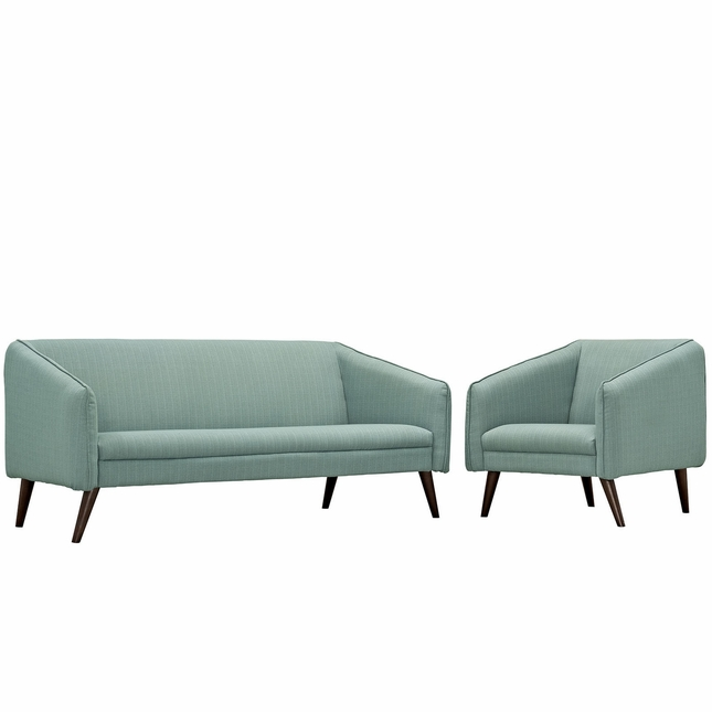 Mid-Century Modern Slide 2-pc Sofa & Armchair Living Room Set, Laguna