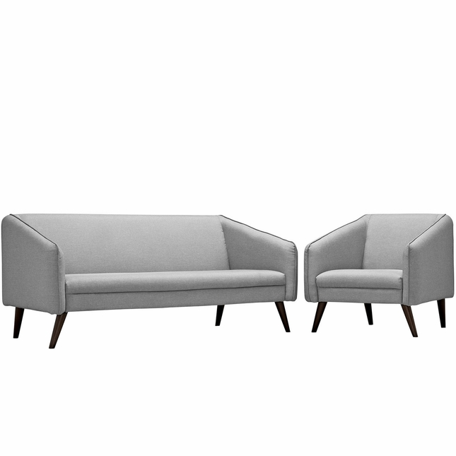 Mid-Century Modern Slide 2-pc Sofa & Armchair Living Room Set, Light Gray