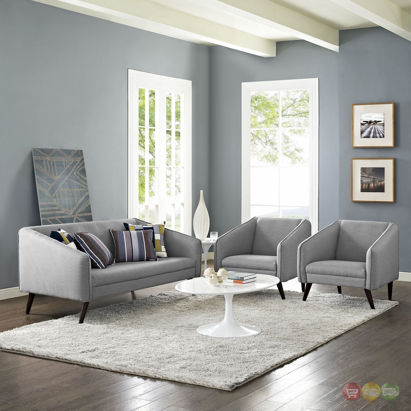 mid century modern slide 3 pc sofa armchairs living room set light gray. Black Bedroom Furniture Sets. Home Design Ideas