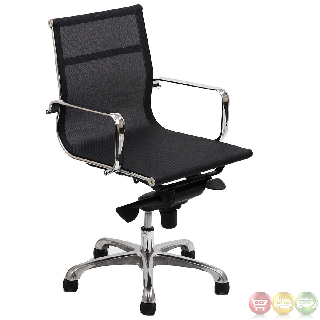 Slider mesh contemporary modern office chair with for Contemporary office chairs modern