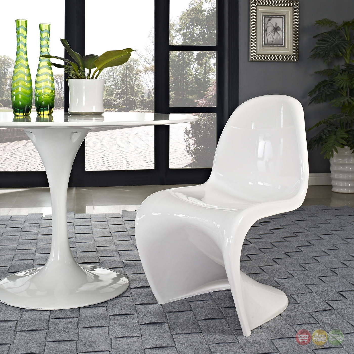 slither modernistic molded plastic s shaped dining side chair white. Black Bedroom Furniture Sets. Home Design Ideas