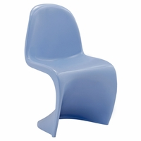 """Slither Modernistic Molded Plastic """"s"""" Shaped Kids Chair, Blue"""