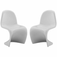 """Slither Modernistic Molded Plastic """"s"""" Shaped Kids Chair, White"""